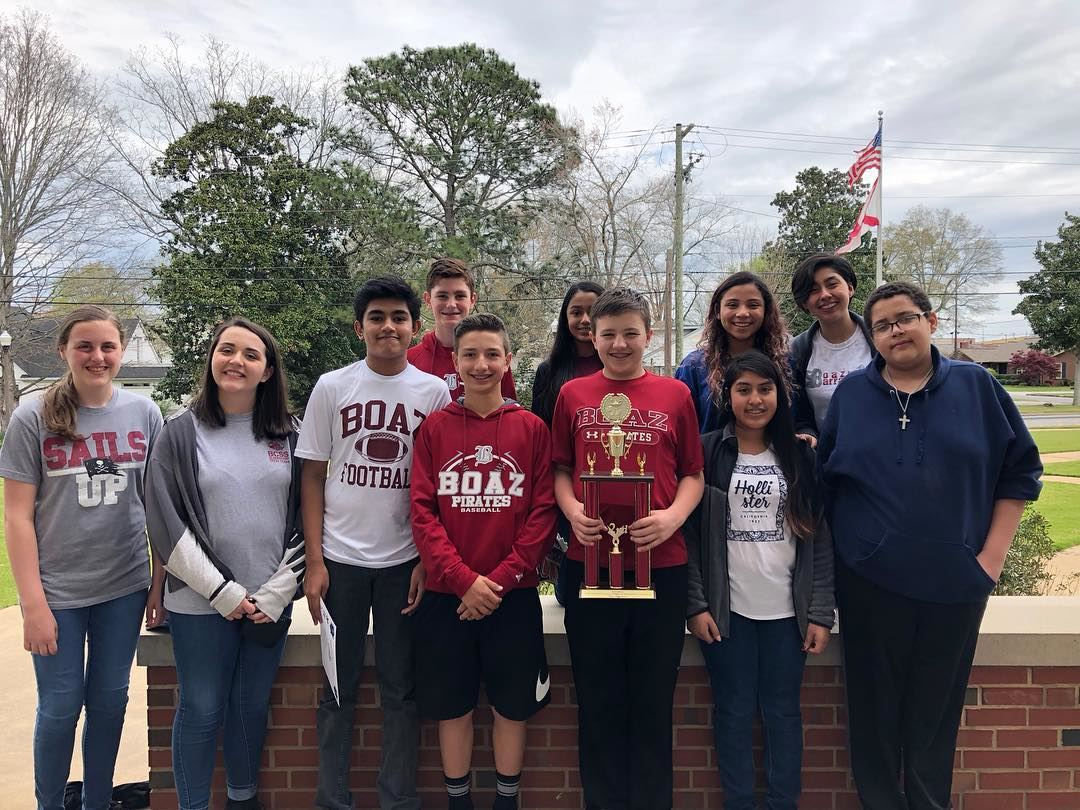 Boaz Middle School Pre-Algebra team takes home 2nd place today in Marshall County Math Tournament.