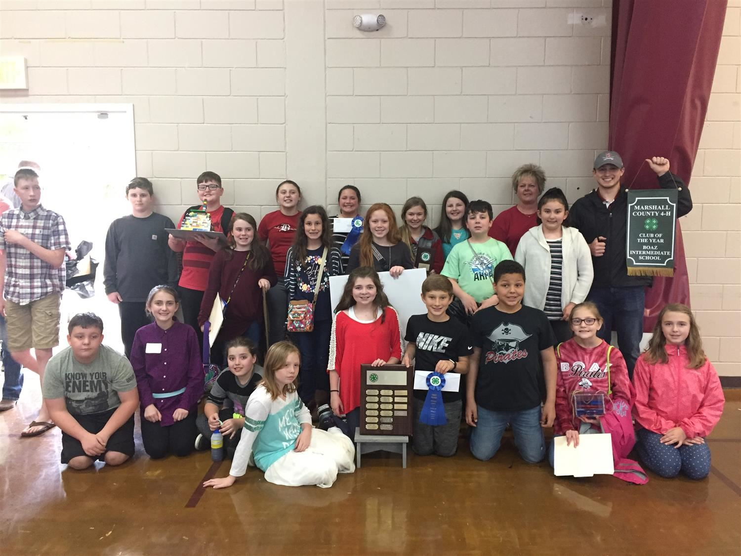 Boaz Intermediate School was named the Marshall County 4H Club of the Year.  Grayce Walker was named 4H President of the Year.  We are proud of our Pirates!